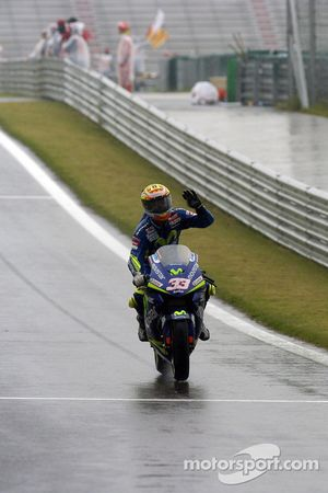 Marco Melandri celebrates third place finish