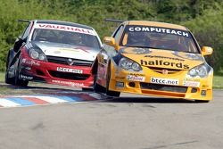 #5 Team Haldords Honda Integra of Matt Neal pursued by VX Racings Colin Turkington in the Vauxhall Astra Sports Hatch