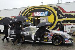 The #07 Jack Daniel's Chevrolet leaves inspection