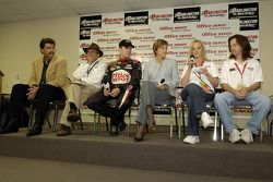 NASCAR president Mike Helton, Jack Roush, Carl Edwards, Lynn Connelly of Office Depot, and Taryn and Corey Reynolds of Fort Bend Lock and Key announce Fort Bend Lock and Key as the official small business of NASCAR