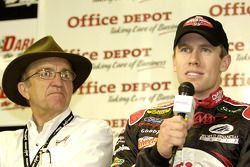 Carl Edwards and team owner Jack Roush during the press conference to announce Fort Bend Lock and Key as the first ever