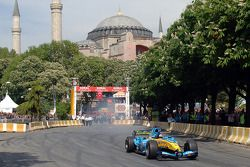 Fernando Alonso does a demonstration run in Istanbul