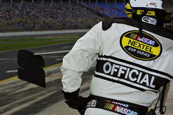 NASCAR official looks on