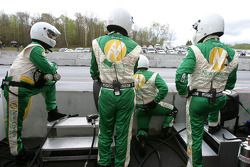 Chip Ganassi crew members get ready for next pitstop