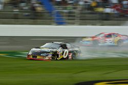 Mike Bliss spins and loses the lead on the last lap