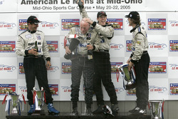 P1 podium: champagne for Butch Leitzinger, Rob Dyson, Chris Dyson and James Weaver