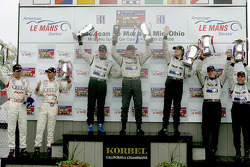 P1 podium: overall and class winners James Weaver, Butch Leitzinger and team boss Rob Dyson, with second place Chris Dyson and Andy Wallace, and third place Frank Biela and Emmanuele Pirro