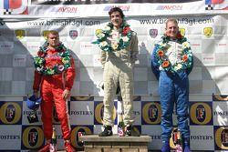 Marko Asmer, Alvaro Parente, Charlie Kimball on the podium