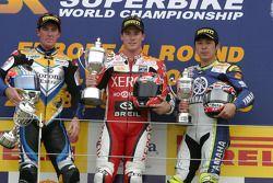 Troy Corser, James Toseland and Noriyuki Haga on the podium
