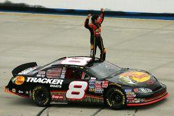 Race winner Martin Truex Jr. celebrates