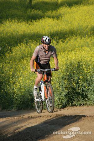Tom Kristensen on a mountain bike