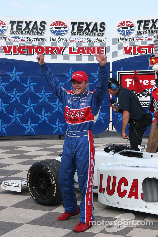 Victory lane: race winner Travis Gregg celebrates