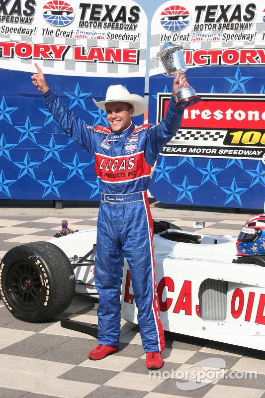 Victory lane: race winner Travis Gregg celebrates