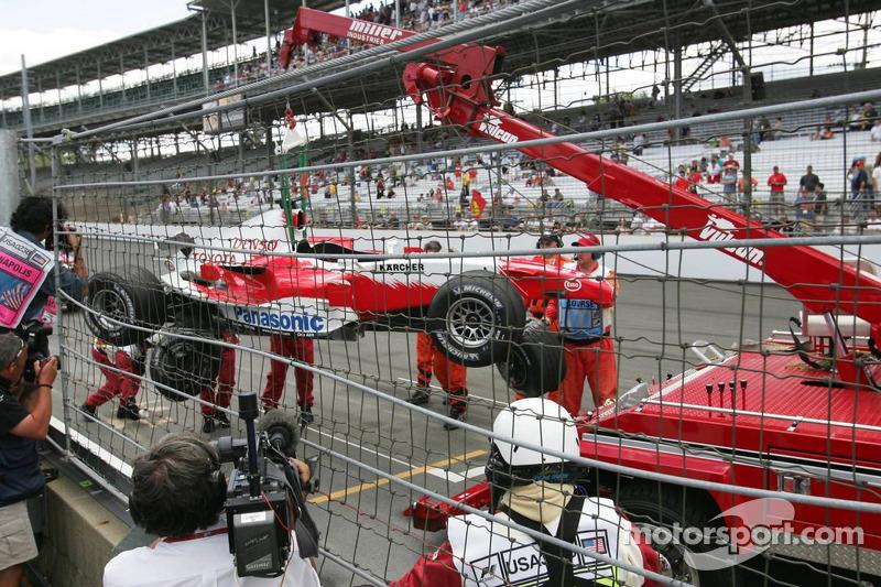 Auto dañado de Ralf Schumacher