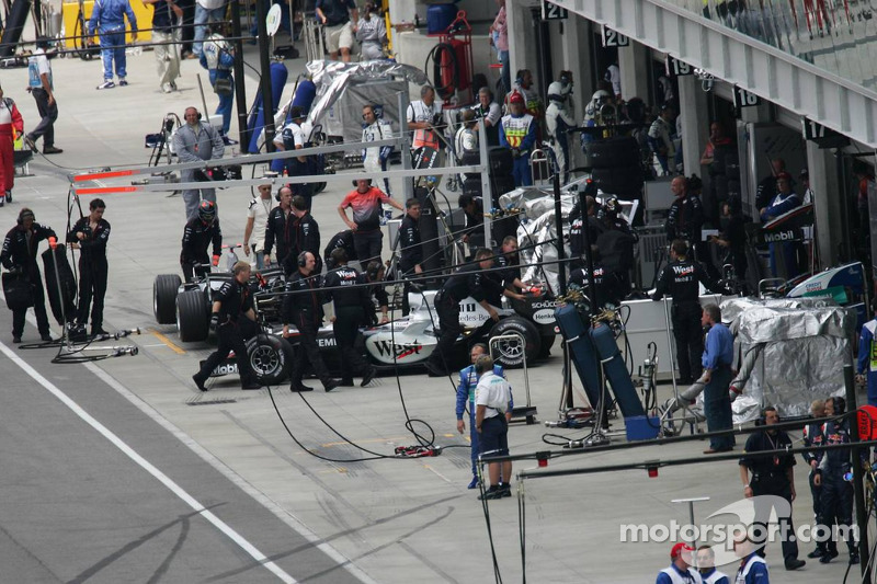 Juan Pablo Montoya pushed back in the garage