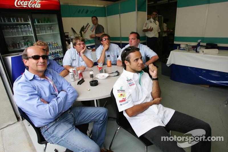 Felipe Massa watches the race