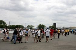 Fans leave the track before the end of the race
