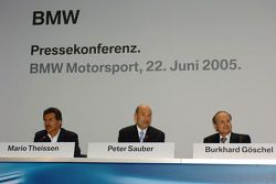 Dr Mario Theissen, (BMW Motorsport Director) Peter Sauber, and Prof Burkard Goeschel (Board member for Development BMW Group)