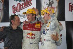 Podium: race winner Gary Paffett with Mattias Ekström and Jamie Green