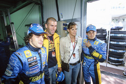 Fernando Alonso and Giancarlo Fisichella with Real Madrid footballer Zinedine Zidane and swimmer Laure Manaudou