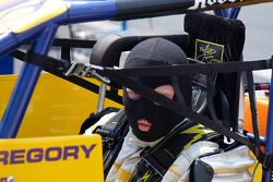 Who is that masked man? It's Ron Gregory, last night's Sprint winner.