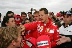 Bridgestone karting event: Michael Schumacher with fans