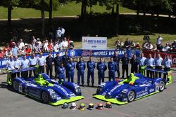 #18 and #8 Rollcentre Racing Dallara Judd: Martin Short, Joao Barbosa, Vanina Ickx, Michael Krumm, Harold Primat, Bobby Verdon-Roe and team