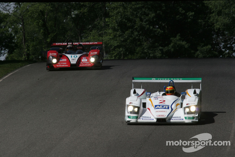 Champion Racing Audi R8 : Frank Biela, Emmanuele Pirro; Miracle Motorsports Courage C-65 AER : John Macaluso, Chris McMurry, Jeff Bucknum
