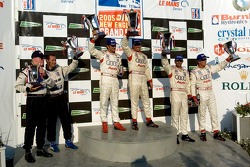 P1 podium: class and overall winners JJ Lehto and Marco Werner, with Frank Biela and Emmanuele Pirro