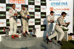 P1 podium: champagne for everyone