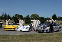 Winners at Le Mans: GT1 winners Oliver Gavin and Olivier Beretta, P1 and overall winners JJ Lehto an