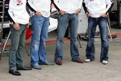 Shoes of Takuma Sato, Enrique Bernoldi, Jenson Button and Anthony Davidson