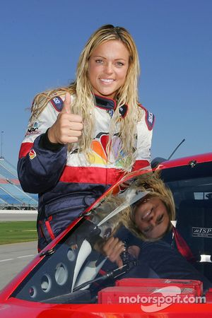 Jennie Finch of the Chicago Bandits softball team takes a trip around the track