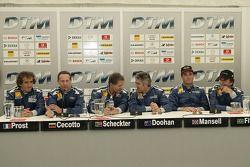 ITR presidente Hans-Werner Aufrecht con Alain Prost, Johnny Cecotto, Jody Scheckter, Mick Doohan, Ni