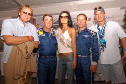Nigel Mansell and Johnny Cecotto with Miss Norisring Svetlana Dragic