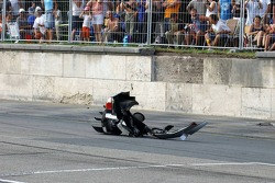 Debris left on the track after the accident of Rinaldo Capello