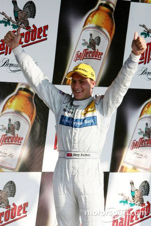 Podium: race winner Gary Paffett celebrates