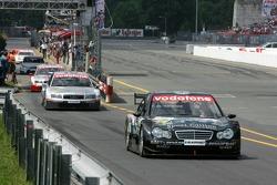 Mika Hakkinen drives out of pitlane