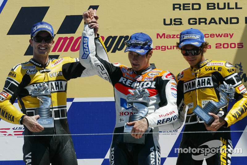 Podium : Nicky Hayden, Colin Edwards et Valentino Rossi