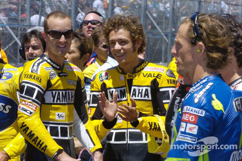 Colin Edwards, Valentino Rossi y Sete Gibernau