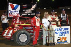 Indiana Sprint Week Feature winner Dave Darland celebrates