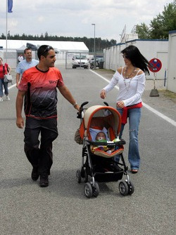 Juan Pablo Montoya with wife Connie and baby boy Sebastian