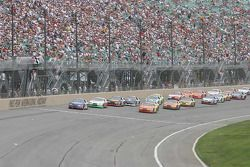 Clint Bowyer leads the restart