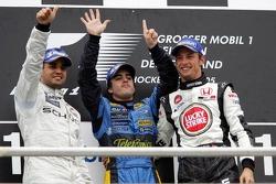 Podium: race winner Fernando Alonso with Juan Pablo Montoya and Jenson Button