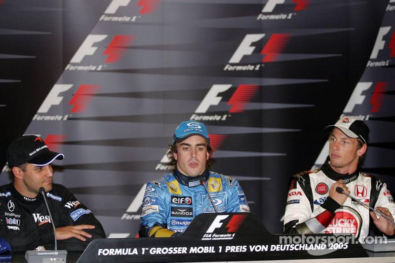 Conferencia de prensa: ganador de la carrera Fernando Alonso con Montoya y Jenson Button