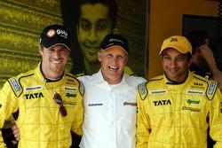 Johnny Herbert, the new sporting relations manager for Jordan, with Tiago Monteiro and Narain Karthikeyan