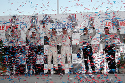 P1 podium: class and overall winners Frank Biela and Emanuele Pirro, with Chris Dyson and Andy Walla