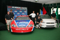 Joe Nemechek, Boris Said, Mark Kent, Scott Riggs, Kevin Harvick and Michael Waltrip with the 2006 Monte Carlo SS race car and the 2006 Monte Carlo SS production car