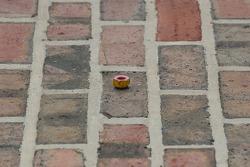 A lugnut left on the yard of bricks