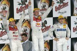 Podium: race winner Mattias Ekström with Tom Kristensen and Gary Paffett
